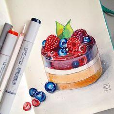 2/2 ещё один рисунок. #скетчмарафон_сладкий_ноябрь от @janelip.art  @sketchpark  @art_markers  @tsusketch  @touchmarkers.ru  @letitprint  #sweets #cake