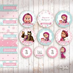 Kit Masha y el Oso. Imprimible Personalizable - CocoJolie Marsha And The Bear, Bear Party, Bear Birthday, Party Kit, Birthday Decorations, Birthday Invitations, Party Themes, Diy And Crafts, Birthday Parties