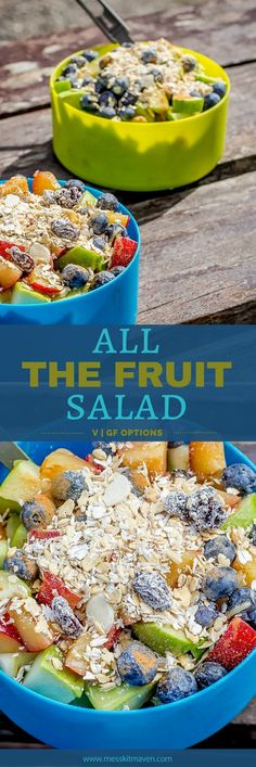 Quality fresh fruit has been hard to come by in Patagonia. So when we find some, we eat all the fruit and make a breakfast salad. Breakfast Salad, Blueberry Breakfast, Vegan Breakfast, Breakfast Recipes, Fruit Salad Recipes, Healthy Fruits, Muesli, Vegan Recipes Easy, Fresh Fruit