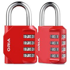 ORIA Combination Lock, 4 Digit Combination Padlock for School, Employee, Gym & Sports Locker, Case, Toolbox, Fence, Hasp Cabinet & Storage - Red and 2 Pack - Specifications: 1. Dimensions:82 x 42 x 22mm/ 3.2 x 1.7 x 0.9in 2. Shackle Diameter: 6mm 3. Material: Steel and Zinc Alloy 4. Weight: 147g Per Unit Package Contents: 2 x Combination Locks 1 x User Manual Note: ● Please remember the code you have set! ● Before you open the loc...
