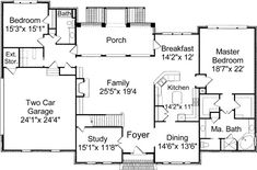 Colonial home plan. Love the Carrie bradshaw style bed/bath with two sided closet