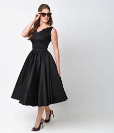 1950s Style Black Cotton Sateen Scallop Brenda Swing Dress
