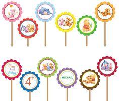 Winnie The Pooh- Printable DIY Custom Party Circle Cupcake Toppers by DesignDreamEtsy, via Flickr