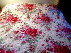 Vintage Duvet Cover off white w Roses 88 x 84 Full by Myshop1020