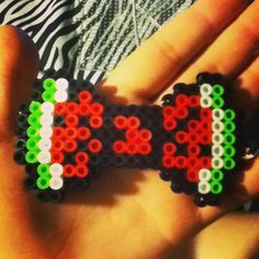 Watermelon bowtie perler beads by wowzers6661