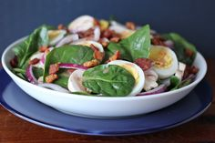 Spinach Salad with Hot Bacon Dressing Bacon Salad, Spinach Salad, Hot Bacon Dressing, Paleo Keto Recipes, Easy Recipes, Classic Salad, Savory Salads, Caesar Salad, Cobb Salad