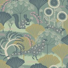 The Borastapeter Mårdgömma wallpaper was designed by Hanna Werning as part of her Wonderland collection for Borastapeter. This nature-inspired illustrative pattern features a backdrop of nature dotted with starry animal silhouettes hiding amongst the f Forest Wallpaper, Green Wallpaper, Modern Wallpaper, Wallpaper Roll, Designer Wallpaper, Funky Wallpaper, Coastal Wallpaper, Nautical Wallpaper, Rustic Wallpaper