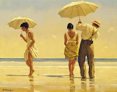 Love these old style painting where people went to the beach in their dress clothes.