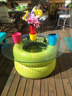 madcapfrenzy's Colorful DIY outdoor deck seating benches makeover with tire table Colorful Decor, Home Decor Colors, Diy Home Decor Easy, Outdoor Spaces, Outdoor Decor, Creative Decor, Backyard Seating, Fire Pit Area, Cool Diy