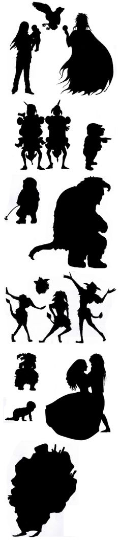 Labyrinth character silhouettes I drew to stencil on a skirt.