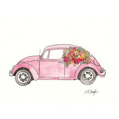 Pink Volkswagen Beetle, Original Watercolor and Ink Painting, 8x10,... ($50) ❤ liked on Polyvore featuring home, home decor, wall art, flower wall art, watercolour flower paintings, car painting, pink flower wall art and floral paintings