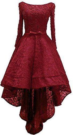 A-line Scoop Neck Long Sleeve Burgundy Homecoming Dresses ASD2567