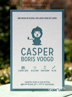 letterpers_letterpress_Casper_geboortekaartje_leeuw_simpel_strak