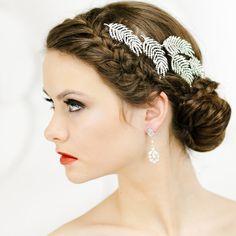 Bridal Headpiece Leaf Hair Accessories by LavenderByJurgita