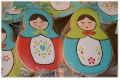 For a baby shower, I used a circle cutter dent on the top to create the doll shape Fancy Cookies, Royal Icing Cookies, Cupcake Cookies, Sugar Cookies, Cupcakes, Tea Party Bridal Shower, Doll Party, Matryoshka Doll, Cookie Designs