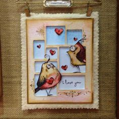 Valentine birds **Love these birds! Tim Holtz really hit a home run with them, so popular. This card is especially cute, love the random open spaces.