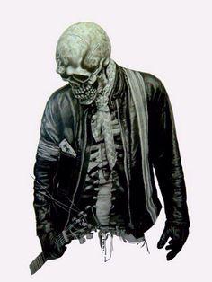 Rocker Skull - this is badass ! Arte Zombie, Skeleton Art, Estilo Rock, Desenho Tattoo, Wow Art, Arte Pop, Grim Reaper, Skull And Bones, Skull Art