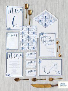 Invitaciones de boda LeBlue. A la venta en leblue.es   Modelo libélulas