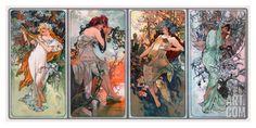 Four Seasons Giclee Print by Alphonse Mucha at Art.com