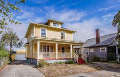 New Listing! 25 N Bryant St, Old Portland Beauty in Piedmont Yellow Houses, Portland, Mansions, House Styles, Beauty, Home Decor, Mansion Houses, Beleza, Homemade Home Decor
