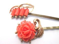 Bridal Hairpins Orange Coral Wedding Accessories Vintage Jewelry Bobby Pin Clip Hairpiece.