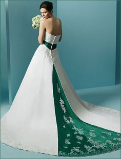 8a262a8d491 White and green wedding dress. Green and white wedding dress.