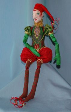 "Dylan, the Celtic Elf  15"" bead-jointed elf dressed in the finest fabrics and trims.  Cloth Doll Sewing Patterns by  Edwina Sutherland Edwina's Dolls"