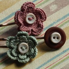 Meadow Crochet Bobby Pin Set- Sage/Dusty Rose — Fixed price $14