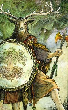The Horned God :  He represents the male part of the religion's duotheistic theological system, the other part being the female Triple Goddess or other Mother Goddess. In common Wiccan belief, he is associated with nature, wilderness, sexuality, hunting and the life cycle