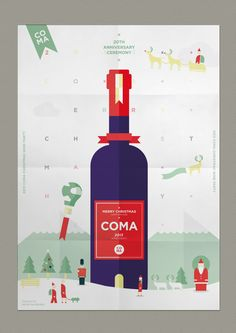 COMA Wine party poster - Merry christmas happy new year by Jahng Hyoung joon, via Behance