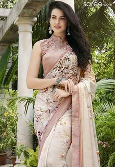 cream-georgette-printed-saree