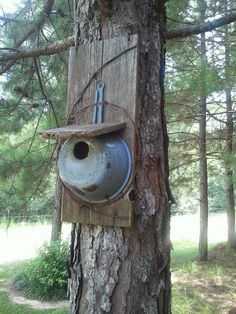 Bird house made from an old pan,  wood and rusty barb wire.