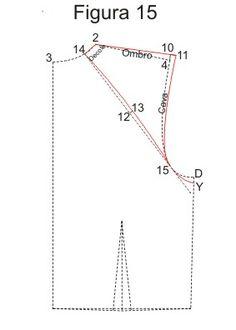 Cortando e Costurando 12 - 13 = 0,5cm Ligue 14 - 13 - 15 com uma curva suave.  Faça as marcações do Decote, Ombro e Cava.