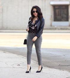 "Stitch Fix (@stitchfix) on Instagram: ""Mondays have never looked better: @natymichele"" • grey slim pants, black leather jacket, floral feminine top"