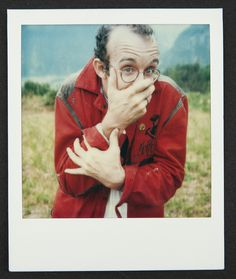 """""""I think it is very important to be in love with life"""" - Keith Haring in Montreux, Switzerland (1986. Polaroid courtesy of the Keith Haring Foundation). Keith Haring: The Political Line opens November 8, 2014 #Countdown to #PoliticalHaring"""