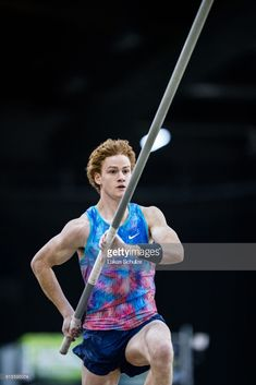 Shawnacy Barber of Canada during Men's Pole Vault at PSD Bank Indoor Athletics Meeting on February 2018 in Duesseldorf, Germany. Pole Vault, Athletics, February, Germany, Canada, Indoor, Sports, Collection, Interior
