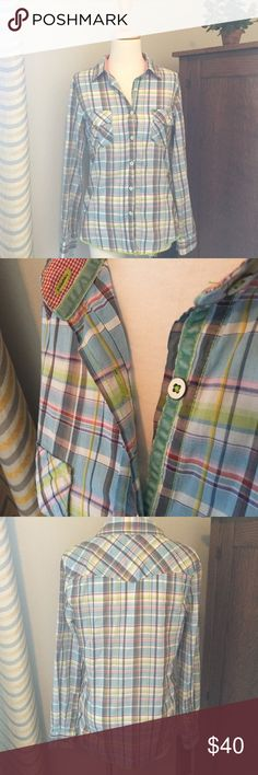 Plaid shirt Plaid with velvet trim. Size medium. 100% cotton. From ShopBop. EUC. ShopBop Tops Button Down Shirts