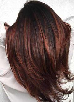 Hair Color Auburn, Hair Color Highlights, Hair Color Dark, Caramel Highlights, Color Red, Natural Highlights, Burgundy Highlights, Highlights For Auburn Hair, Ombre Colour