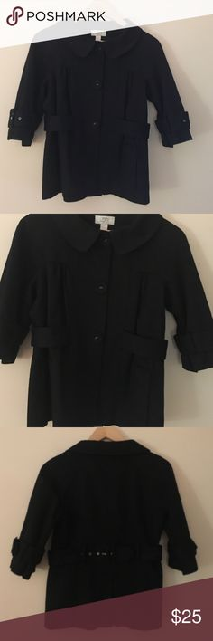 "Ann Taylor Loft 2 black cotton lined belted jacket Trendy and fun Ann Taylor Loft size 2 black cotton lined jacket with matching belt and 3/4"" length sleeves.  Dimensions taken while garment is laying flat: 34"" bust, 32"" waist, 36"" hips, sleeve length 18"" from neck, and length from shoulder to bottom hem 22"". Ann Taylor Loft Jackets & Coats Blazers"