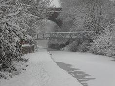 Snow Covered Canal nr High Bridge nr Saltwells Nature Reserve Netherton Dudley West Midlands 2010