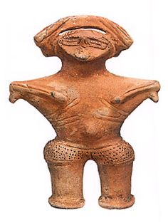 """Goddess"" .   Japanese ceramic figurine ""DOGU"".   B.C.3200 - 2800.   This figurine was unearthed on Kamabuchi-goroumae Yamagata Japan."