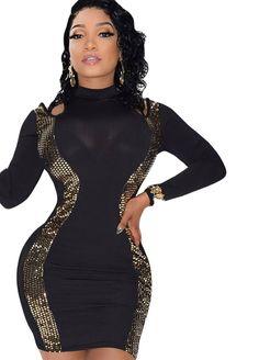 Cut-Out Shoulders Gold Sequins Mesh Mini Dress_Club Dress_Clubwear Clothing_Sexy Lingeire | Cheap Plus Size Lingerie At Wholesale Price | Feelovely.com #plussizefashionlingerie