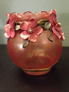 Luna Blue Creations: Frosted Vases With Sculpted Polymer Clay
