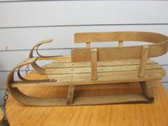 Antique Childs Wooden Sled Kinder Sled Paris Mfg