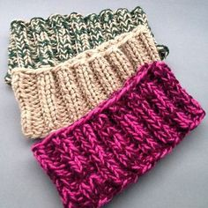 "Easy Headband (Ear warmers)Worsted Weight Yarn (Hold two strands of yarn together throughout) One 16"", size 8 5.0 mm circular needle Cast on 60 stitches join in the round (Hold two strands of yarn together throughout) Row 1 : Knit 2, Purl 2 across the row Repeat row 1 until Headband is 3 ¼ inch wide Bind off loosely in the knit 2 and purl 2 pattern"