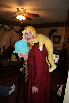 Old lady and baby Halloween costume...so funny and yet somewhat disturbing!