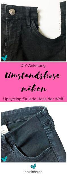 Nähanleitung für das Upcycling einer alten Hose zu einer Schwangerschaftshose. So kann aus einer passenden Hose eine Umstandshose genäht werden, ohne auf die Hosentaschen verzichten zu müssen. Tutorial von Nora in HH.