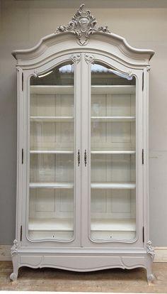 French antique Rococo armoire - repaint in Farrow & Ball 'Pavillion Gray'