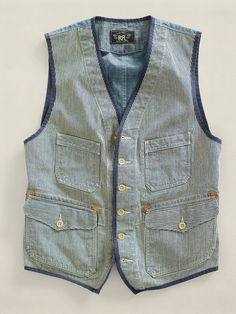 Rennes vest RRL, need this one in size XL. Workwear Fashion, Denim Fashion, Fashion Outfits, Fashion 2016, Latex Fashion, Steampunk Fashion, Gothic Fashion, Urban Fashion, Costume Homme Vintage