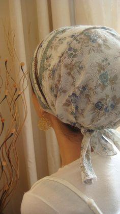 blue green unique floral fabric handmade tichel cotton modern look headscarf